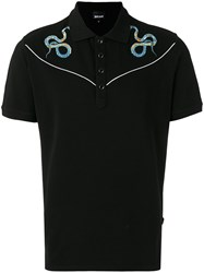 Just Cavalli Snake Embroidered Polo Top Black