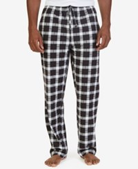 Nautica Men's Black Plaid Fleece Pajama Pants True Black