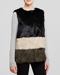 Jocelyn Long Hair Rabbit Fur Colorblocked Vest Bloomingdale's Exclusive Black Beige Olive