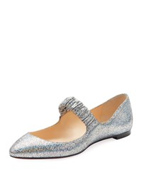 Christian Louboutin M A Gil Mica Mary Jane Red Sole Ballet Flats Silver