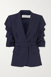 Michael Kors Collection Belted Gathered Cady Blazer Midnight Blue
