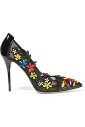 Oscar De La Renta Alyssa Embellished Patent Leather And Mesh Pumps Black