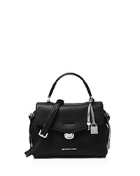 Michael Kors Bristol Small Leather Satchel Black Silver
