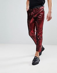 Noose And Monkey Skinny Cropped Sequin Pants Red