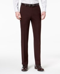 Ryan Seacrest Distinction Men's Slim Fit Stretch Burgundy Solid Suit Pants Created For Macy's