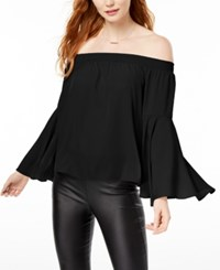 Bar Iii Off The Shoulder Bell Sleeve Top Created For Macy's Deep Black
