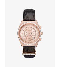 Vail Rose Gold Tone And Embossed Leather Watch