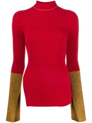 Moncler 1952 Ribbed Contrast Cuff Sweater Red