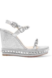 600d218b99e7 Christian Louboutin Pyraclou 110 Spiked Metallic Textured Leather Wedge  Sandals Silver Gbp