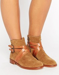 Hudson London Atlas Suede Strap Flat Ankle Boots Tan Suede