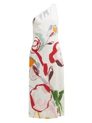 Cult Gaia Louise Abstract Print One Shoulder Linen Dress White Print