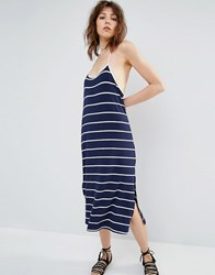 Mango Fine Stripe Midi Dress Multi