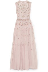 Needle And Thread Rainbow Ditsy Embellished Tulle Gown Pink Gbp