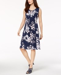 Jm Collection Petite Printed A Line Dress Created For Macy's Blue Garden