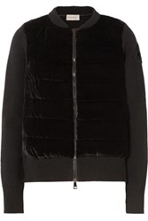 Moncler Wool And Cashmere Blend And Quilted Velvet Cardigan Black