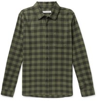 Outerknown Checked Brushed Organic Cotton Flannel Shirt Green