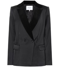 Frame Velvet Collar Satin Blazer Black