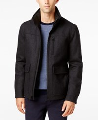 Nautica Men's Wool Blend Bomber Jacket Charcoal