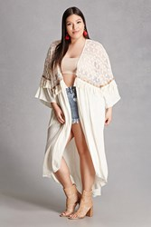 Forever 21 Plus Size Tassels N Lace Kimono Ivory