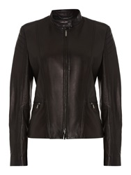 Hugo Boss Sarang Biker Zip Thru Leather Jacket Black
