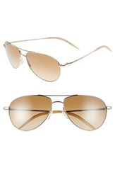 Women's Oliver Peoples 'Benedict' 59Mm Gradient Aviator Sunglasses Gold Chrome Amber