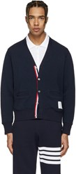 Thom Browne Navy V Neck Cardigan
