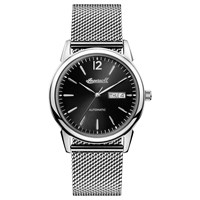 Ingersoll I00505 Men's The New Haven Automatic Day Date Bracelet Strap Watch Silver Black