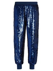 Ashish Sequin Embellished Zip Seam Silk Trousers Navy