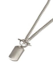 Topman Silver Look T Bar Dog Tag Chunky Chain Necklace