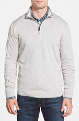 Men's Big And Tall John W. Nordstrom Regular Fit Quarter Zip Merino Wool Pullover Grey Driftwood Stripe