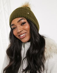 River Island Knitted Beanie Hat With Faux Fur Pom Pom In Khaki Green