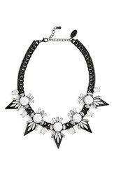 Natasha Beaded Dagger Bib Necklace Hematite White