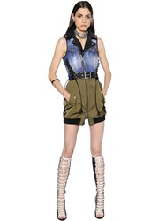 Dsquared Lace Up Stretch Denim And Canvas Dress