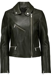 Karl Lagerfeld Odina Leather Biker Jacket Army Green