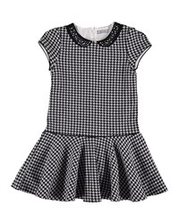 Mayoral Houndstooth Cotton Dress Charcoal