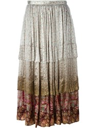 Etro Floral Print Flounce Skirt Nude And Neutrals