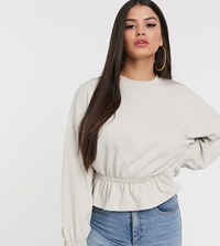 Missguided Petite Sweater With Gathered Waist In Stone Cream