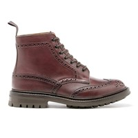 Tricker's Men's Stow Leather Commando Sole Lace Up Brogue Boots Burgundy