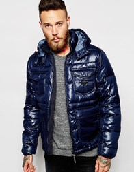 Lee Quilted Jacket Loco Detachable Hood Navy