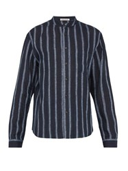Denis Colomb Raj Mandarin Collar Striped Linen Shirt Navy Multi