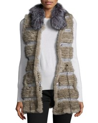 Belle Fare Netted Mink And Fox Fur Vest Dark Gray Dark Grey
