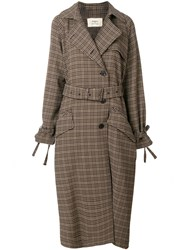 Ports 1961 Plaid Trench Coat Nude And Neutrals