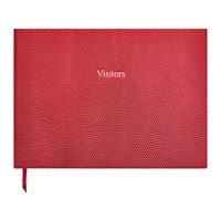 Organise Us Leather Visitors Book Cherry Red