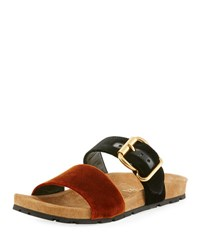 Prada Double Strap Flat Slide Sandal Brown Black