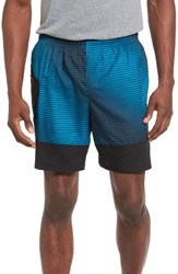 New Balance Men's Hybrid Tech Shorts Deep Ozone Blue Print