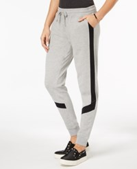 Material Girl Active Juniors' Colorblock Striped Sweatpants Created For Macy's Heather Platinum