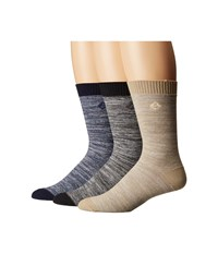 Sperry Reverse Texture Crew 3 Pack Navy Assorted Men's Crew Cut Socks Shoes Multi
