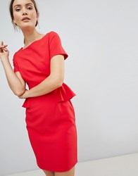 Zibi London Pencil Dress With Frill Detail Red