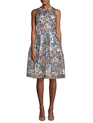 Alexia Admor Embroidered Sequin Fit And Flare Dress Blue Multi