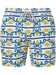 Capricode Baroque Print Swim Shorts Men Nylon M White